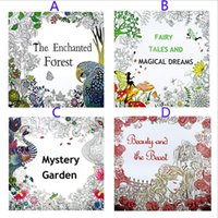 Wholesale 4 Design Secret Garden Beauty and the Beast Coloring Book Children Relieve Stress Kill Time Graffiti Painting Magic forest Drawing Book B