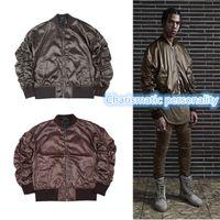 air ribs - 2017 Autumn And Winter Mens Solid Flight coffee Bomber Jacket Men s Rib Sleeve Zipper Short Air Force Baseball Coats Clothing