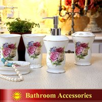 bathroom set china - Porcelain bathroom sets ultra thin super white bone china fowers design five piece set accessories bathroom sets wedding gifts