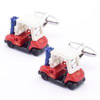 Wholesale Novelty Cufflinks copper material golf cart design new arrival cufflinks retail