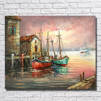 beautiful wall hangings - Wall Hanging the Ship in the Sea Oil Painting Decorative Pictures On Canvas Beautiful Wall Pictures for Living Room