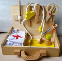Wholesale New Arrived Baby Toys Doctor Set Play House Wooden Toy Simulation Medicine Cabinet Box Doctor Toy Popular Games Gift