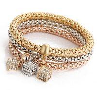 Wholesale 2016 Fashion Jewelry Bracelets Bangles Real K Gold Silver Rose Gold Plated Bracelet Metal Chain Women Bracelet HJIA673