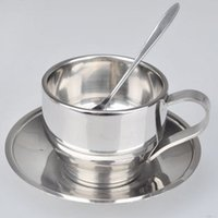Wholesale 3pcs set cafe supplies Double layer stainless steel coffee cup dish spoon
