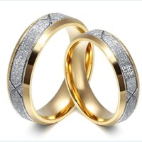beautiful tension - Matte finished with gold plated edge and CZ diamonds couple rings for Princess Jewelry Romantic And Beautiful wedding engagement love rings