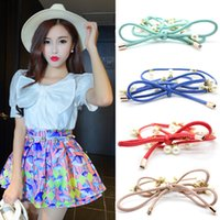 Wholesale Patent leather New Fashion Women Belts Rope Ribbon Bow knot with Imitation Pearls Easy matching Waist Accessories Cheap Colorful