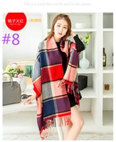 Wholesale Female winter and autum woman wild plaid cashmere wool shawl scarves dual air conditioning