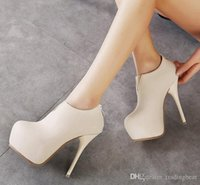 Wholesale Chic high heel winter ankle boots beige black leather boots Nice shoes cm to