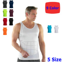 belly girdle - Sexy Slim Men Vest Underwear Body Slimming Tummy Shaper Belly Underwear Shapewear Waist Girdle Shirt S M L XL XXL DHL
