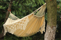 Wholesale 2 m Portable Folding Hammock Patio Swing Outdoor Camping Canvas Cotton Double Parachute Tassels Hammock Straps Freeshipping
