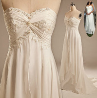 Sheath/Column low price dresses - Beach Wedding Bride Dresses Sexy Empire Sweetheart Ruffles Appliques Chiffon Low Price Hot Sale Summer Casual Bridal Gowns