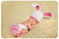 baby hand knit sets - Hand knitted baby photography white rabbit costume Baby sets Baby girl sets clothes Baby suit Baby girls dresses Boys dress