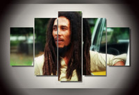 Cheap 5 Panel HD Printed bob marley Group Painting wall art Canvas Print room decor print poster picture canvas dragon modern painting