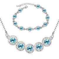 Wholesale Fashion jewelry for women Austrian crystal jewelry unique sweet fashionable joker rainbow sugar Necklace Bracelet Jewelry Sets G063