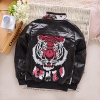 kids leather jackets - Kids Leather Jackets Outwear Autumn Winter Trendy Stand Collar PU Leather Printing Boy s Coat Zip Front Clothes for T Children Cloth