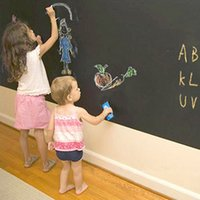 Wholesale Wallpaper DIY Blackboard Waterproof Chalkboard Wall Paper Decal Removable Black Board Sticker cm With Chalks