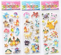 Wholesale Poke Pokémon go Pikachu D Stickers new Children cartoon Pikachu Charmander Jeni turtle D PVC Stickers x7 cm