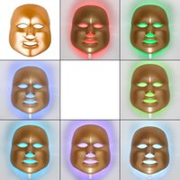 Wholesale Gold Korean LED Photodynamic Facial Mask Home Use Beauty Equipment Anti acne Skin Rejuvenation LED Photodynamic Masks Colors Lights