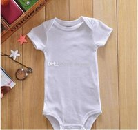 Wholesale Baby Rompers Suit Summer Infant Triangle Romper Onesies cotton Short sleeved babies clothes boy girl pure white full sizes in stock