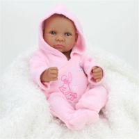 Wholesale 11 quot Handmade African American Black Reborn Baby Dolls Silicone Lifelike Girl Doll