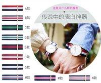 Wholesale DW silver watch nylon strap colorful Charm Bracelets sport armband bracelets lady dw watch strap including the watch and band