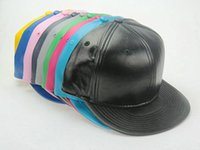 blank baseball caps - High Quality Hot Sale Plain Blank Solid leather Snapback hats black Snapbacks Snap Back Baseball Caps Winter Hats Mix order LS