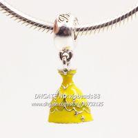 belle foods - S925 Sterling Silver Belle Dress Dangle Charm with Yellow Enamel Dangle Charm Bead Fit European Pandora Charm Bracelets Necklaces DS024