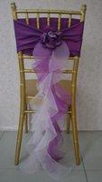 cheap furniture - 2015 For Taffeta D Flower Purple Organza Ruffles Chair Covers Cheap Romantic Beautiful Chair Covers Decorations Samples