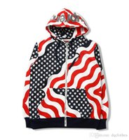 american flag cardigan - Autumn Winter KRIS Tide Brand Men Women American Stars National Flag Printing Hoodie Loves Full Zip Fleece Cardigan Sweatshirt Coat