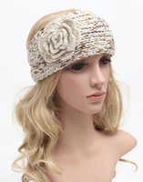 Wholesale American And European Pop Restore Ancient Ways Variegated Camellia Lady Headband Winter Warmth Wool Knitting Hair Accessory