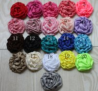 Wholesale Satin rose bud cloth roll cloth diy jewelry flower head hair band children hair accessories colors