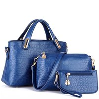 alligator toys - European and American fashion casual alligator pattern handbag PU leather shoulder bag bags set with bear toy X34