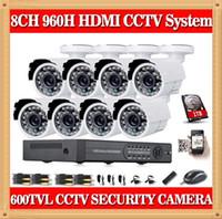 al por mayor sistema de cámaras de seguridad en el disco duro-CIA- Inicio 8CH CCTV Seguridad conjunto de cámara de la cámara de la noche del día 600TVL con el Kit 8channel DVR de 1 TB de disco duro de color del sistema de vigilancia de vídeo