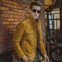 al por mayor hombres de la chaqueta de mezclilla de color amarillo-Otoño-Men piel de cerdo de la chaqueta de cuero real de la chaqueta amarilla del cuero genuino de los hombres de la chaqueta de la motocicleta de la capa del dril de algodón