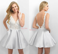 Wholesale Silver Lace Top Short Mini Party Dresses New Sexy Backless V Neck Sleeveless Satin A Line Homecoming Dresses Short Cocktail Gowns