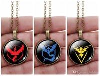 Wholesale Anime Poke GO Cos Team Valor Instinct Mystic Pendant Necklaces Antique Bronze Round Gemstone Cabochon Jewelry Novelty Christmas Gift