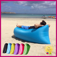 Wholesale 2016 Portable Sofa Lazy Sofa Fast Inflatable Air Sleeping Bag Camping Bed Beach with Retail Package