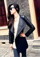 Precio de Leather jackets-2016 nuevo envío libre más nuevo N94 larga capa de la chaqueta de lana caliente Mezcla de las mujeres de cuero de la PU de la manga Parka Trench Abrigo