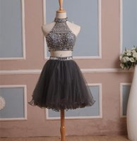 Wholesale 2016 In Stock Real Homecoming Dress Two Pieces Gray Tulle Graduation Gown with Rhinestones High Neck Short Prom Cocktail Party Gown