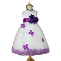 Cheap 2016 New flower girl dresses gown High quality children baby girls WHITE with Rose Petal princess tutu dress for Wedding New year 2-12T girl
