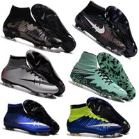 ag leather - 100 Original Mercurial Superfly CR7 FG AG Mens Magista Soccer Cleats Boots Hypervenom Kids Football Shoes Womens High Top Ankle Outdoor
