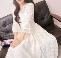 adult fairy skirts - Summer new ladies temperament Slim openwork lace V neck dress white fairy skirt casual dress