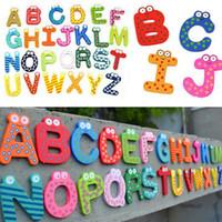 Wholesale Fridge Wooden Magnet Baby Child Toy A Z Educational Alphabet Letters A00096