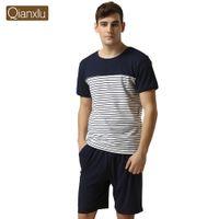 Wholesale Qianxiu Brand Pajamas Casual Pants Suit For men Plus Size Cotton Pajama Set For Men