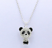 Pendant Necklaces South American Women's Cheap Price Imitation Diamond Sweater Chain Necklace Cute Zircon Panda Pendant Necklaces Jewelry For Women Gifts QW
