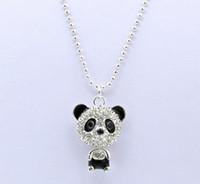 Bijoux de panda Prix-Prix pas cher imitation diamant chandail Collier chaîne Mignon Zircon Panda Pendentif Colliers Bijoux Cadeaux Femmes QW