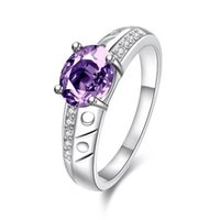 stone vision with best reviews - 925 Sterling silver ring Fashion VISIONS Purple crystal Red stone White Diamond ring for women wedding rings size7&8 SPR057