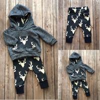 venda por atacado baby wholesale-ternos natal 2016 Recém-nascido Bebé Crianças Meninos Meninas cervos Hoodie legal Tops top + Pant Long moda roupas de bebê de boa qualidade set Atacado 0-18M