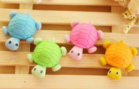 >3 years Fruit Fantastic Wholesale-1 Piece Hot Sale New Lovely Cute Cartoon Eraser Rubber Korean Stationery Candy Color Colorful Tortoise Novelty Kid Gifts