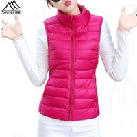 Wholesale Plus Size XL Ultra Light Duck Down Vest white duck down women vest winter sleeveless Jacket waistcoat autumn red black vest